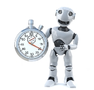 robot and a stopwatch