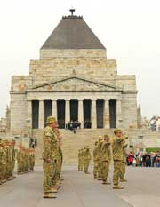 The 140 strong Operation Anode rotation 18 contingent at their Melbourne Shrine of Remembrance welcome home parade, hosted by Victoria's 4 Brigade in conjunction with the Defence Reserves Association.