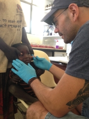 Oscar Kristein with the needle device in Ethiopia on a National Health and Medical Research Council project with thanks to the Bill and Melinda Gates Foundation