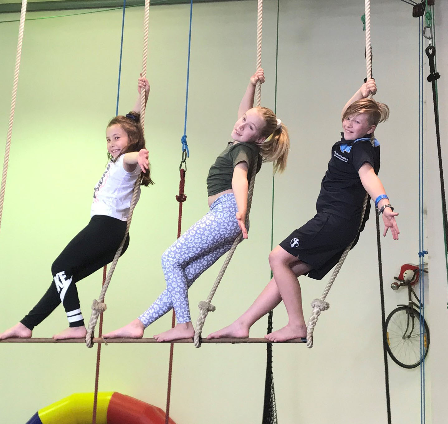 Gracie, 8, Georgina, 10 and Akira, 9 at Cirkidz
