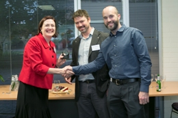 UniSA's DVC:R&I Tanya Monro with Will Tamblyn and Gavin Smith from Voxiebox