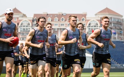 Port Adelaide players training in China