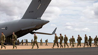 Australian Army soldiers from 5Th Battalion, Royal Australian Regiment, Exit A No 36 Squadron C-17A Globemaster Iii Aircraft after arriving at RAAF Base Curtin in northern Western Australia on 31 August 2016 for Exercise Northern Shield. © Commonwealth of Australia, Department of Defence.