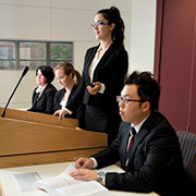 Students in a courtroom.