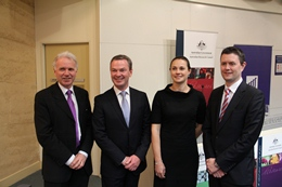 L-R: ARC CEO Aidan Byrne, Minister Pyne, Dr Erica Donner and VC Prof David Lloyd