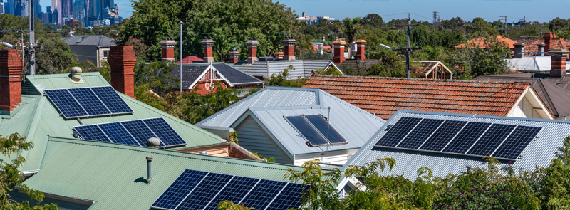 Solar panels on suburban house roofs in Melbourne, Australia