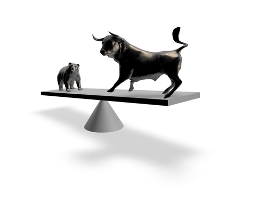 illustration of a bull and a bear on a seesaw