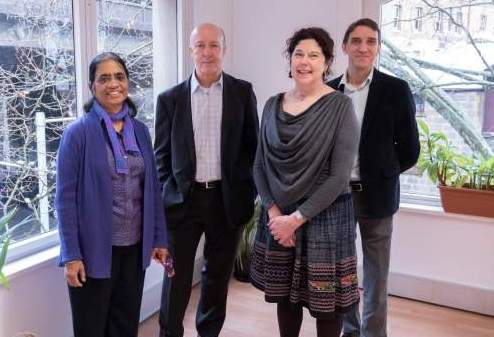 Karen Grimmer meeting with Capital Markets Collaborative Research Centre (CMCRC) staff in Sydney in July (from Left Uma Srinivasan, David Jonas and Steve Clark).  CMCRC fund an iCAHE PhD scholarship, and current research on consumer views on uses and storage of their health data.