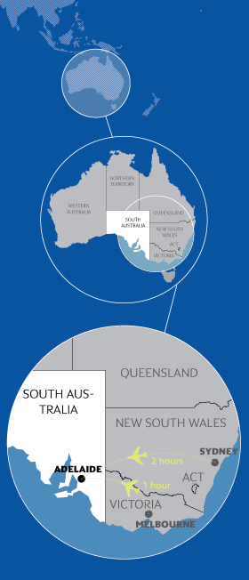 Adelaide world map