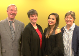 Benefactors Tom Pearce, Susan Lloyd and Erica Diment with Don Hawke Memorial Scholarship winner, Madison Baj.