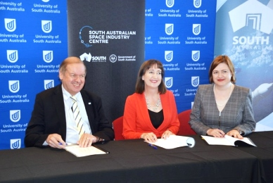 UniSA DVC: Research,  Prof Tanya Monro with SA Minister for Education, Susan Close and President of the ISU, Walter Peeters