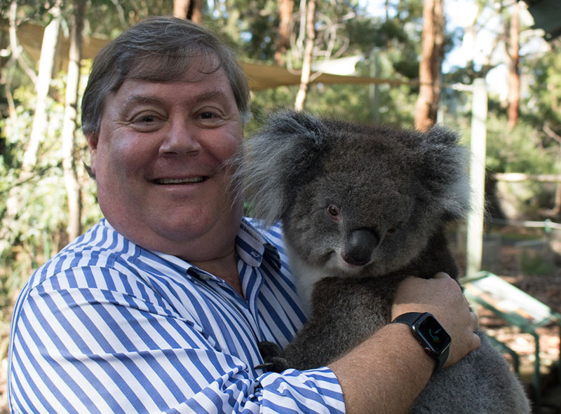 Professor Chris Daniels with a koala. Photo courtesy Cleland Wildlife Park.