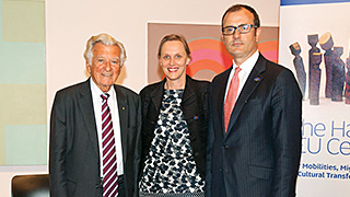 Former Prime Minisher Bob Hawke, Associate Professor Jennifer Rutherford and EU Ambassador, HE Mr Sem Fabri