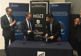 UniSA Deputy Vice Chancellor Nigel Relph and Dassault Systèmes' Managing Director for Asia Pacific South, Masaki Sox Konno sign a strategic education partnership