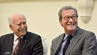 Former Prime Minister John Howard with Alexander Downer.
