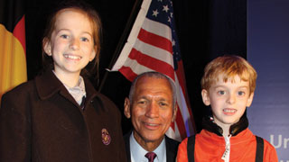 Major General Charles Bolden with Belle Hope and Nicholas Haley