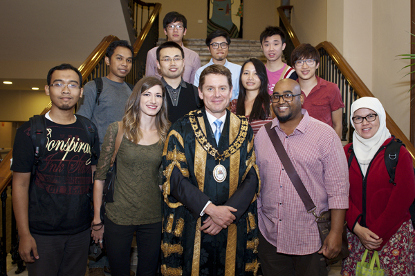 Lord Mayor with a group of international students