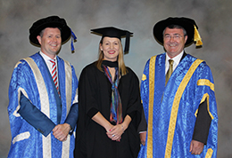 Sally Perrin with VC Prof David Lloyd and Chancellor Jim McDowell