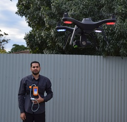 Researcher Ali Al-Naji performing a drone experiment