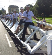 Riders seated on the world's longest bike