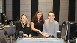UniSA journalism student trio Chloe, Brad and Morgan in the studio at Magill campus where they made a MOD.cast