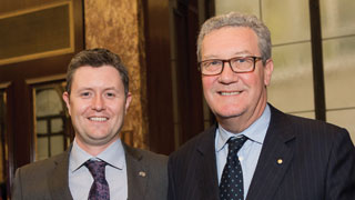 Professor David Lloyd with High Commissioner to London Alexander Downer. Photo courtesy of Worldaway Photography.