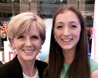 UniSA bachelor of engineering student Michelle Howie (right) pictured with Australia's foreign minister, Julie Bishop at the new Colombo Plan scholarship ceremony.