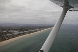 view of Adelaide's coast from the shark patrol aircraft
