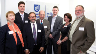 (L-R) Professor Marie Wilson, Professor John Rose, Professor Larry Lockshin, Professor Jordan Louviere, Professor David Lloyd, Maria Lambides and Professor Joffre Swait at the Institute for Choice launch in Sydney.