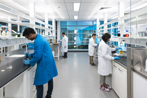 Students in a Science Lab at Mawson Lakes Campus