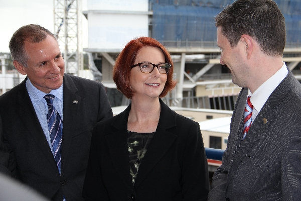 South Australian Premier Jay Weatherill and former Prime Minister Julia Gillard with Professor David Lloyd on City West campus, discussing the Centre for Cancer Biology