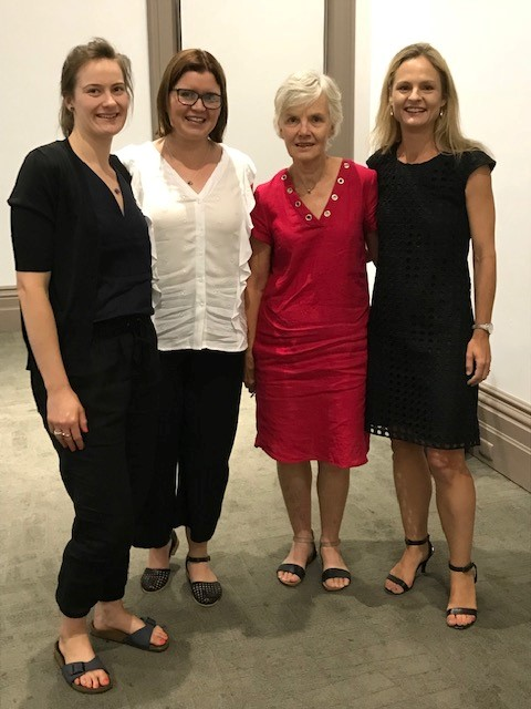 UniSA AHURI Top-up Scholars Laura Hodgson, Jess Porter and Christa Viljoen with our research centre director, Assoc. Prof Christine Garnaut