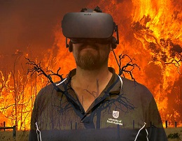 Shane Kakko wearing a virtual reality headshot