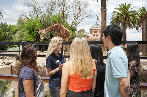 Carla Litchfield talking to a group of students at the Adelaide zoo