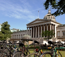View of University College London dome with bicycles in the foreground