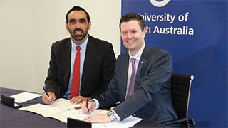 UniSA Vice Chancellor, Professor David Lloyd, and CEO of Indigenous Defence Consortium, Adam Goodes.