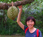 University of South Australia Malaysia Alumni Association President Joanna Liao with durian hanging from tree