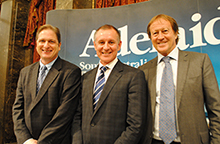From left, Tim Harcourt, Premier's Advisor on International Engagement, The Hon Jay Weatherill MP, Premier of South Australia and Bill Muirhead, Agent General