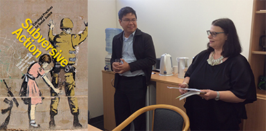 Dr Nilan Yu and Associate Professor Lia Bryant a the launch for Dr Nilan Yu's new book Subversive Action