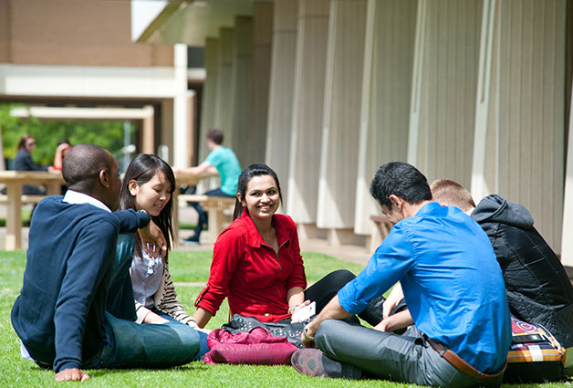 Students at Mawson Lakes campus courtyard