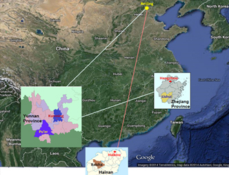 Location of the research in China