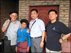UniSA researchers Adjunct A/Prof Ness, Prof Ying Zhu and Dr Ke Xing with woman from ancient Bulang ethnic group, Yunnan