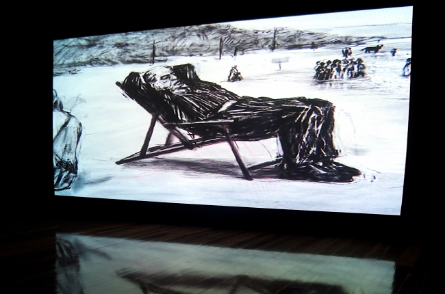 William Kentridge: Tide table, 2008, installation detail,  Anne & Gordon Samstag Museum of Art, University of South Australia. Photograph Mick Bradley.