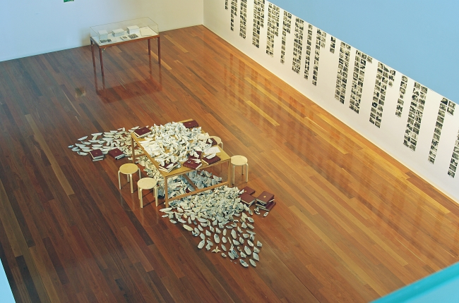 Simryn Gill: Gathering, 2009, installation detail, Samstag Museum of Art, University of South Australia. Photograph by Mick Bradley.