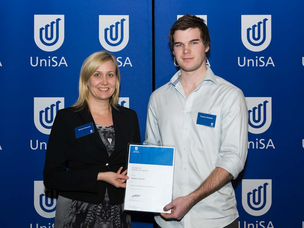 Marteine Edwards from Westfield with Thomas Chisholm (right), who was awarded the Westfield SA Marketing Scholarship