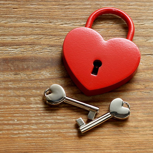 wooden heart with keys