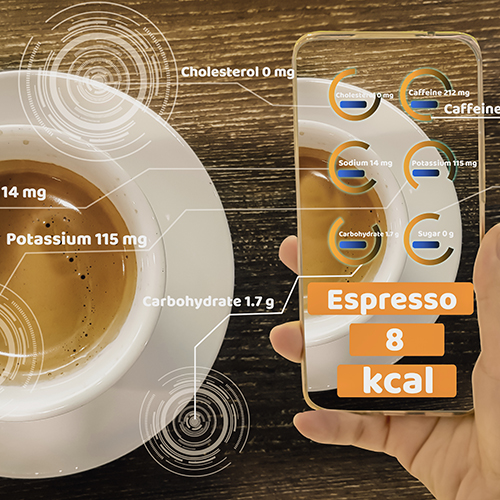 coffee being decoded by virtual calorie counter