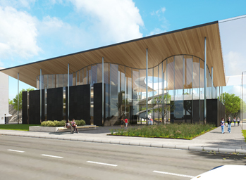 An artist's impression of the planned Industry Connections Hub and Education Building (University Boulevard view) at Mawson Lakes.