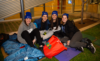 UniSA students participating in the 2018 UniSA Community Sleepout in Hoj Plaza, City West campus.
