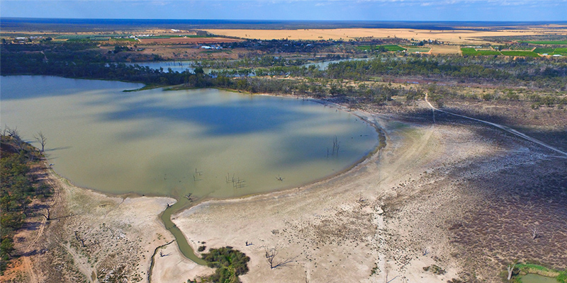 An aerial view of a drought ridden section of lagoons on the River Murray. Photo: Shutterstock